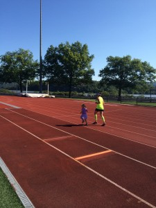 Cora and Mom on the Track