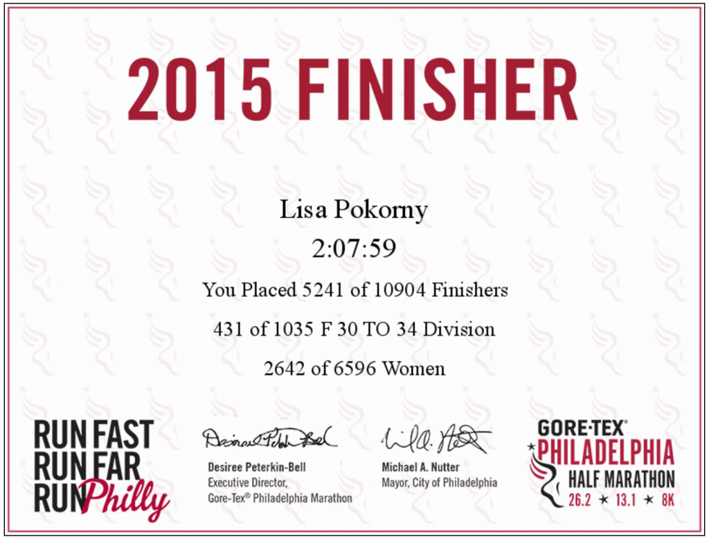 Philly Finisher Certificate